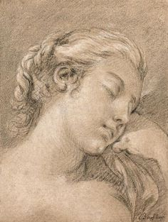 """François Boucher Paris, 1703 - 1770 - Visage de jeune fille endormie - Crayon[...], mis en vente lors de la vente """"Tableaux et Dessins Anciens et du 19e siècle """" à Artcurial   Auction.fr"""