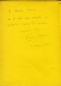 """Dedicatoria autógrafa del escritor de la Generación dl 27, Pedro Salinas, en la hoja de respeto de un ejemplar de """"Error de cálculo"""", a María Luisa Díez-Canedo, Wellesley, USA, 17 de mayo de 1938."""