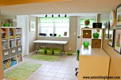 Our Inviting Space For Kids - basement remodel, Ikea Expedit, games and books Basement Craft Rooms, Kids Basement, Basement Ideas, Playroom Ideas, Garage Ideas, Basement Color Schemes, Basement Colors, Space Crafts, Kids Crafts