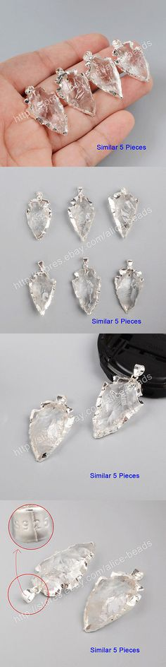 Rock Crystal Colorless 12317: 5Pcs 925 Sterling Silver Arrowhead Pendant, Rough Raw Naural White Quartz Bss025 BUY IT NOW ONLY: $31.99