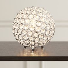 """House of Hampton Lamour Crystal Ball 8"""" H Table Lamp with Sphere Shade"""