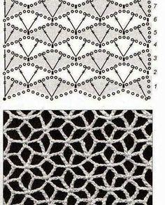 Poinsettia looking pattern - would make a beautiful light shawl Art Au Crochet, Bunny Crochet, Crochet Motif, Crochet Shawl, Knit Crochet, Crochet House, Easy Crochet, Crochet Stitches Chart, Crochet Diagram