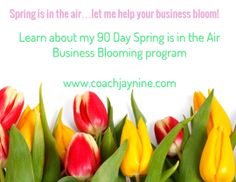 Are you ready to see your profits bloom? My 90 day business coaching program is guaranteed to help you get results. http://www.coachjaynine.com/spring-is-in-the-air.html