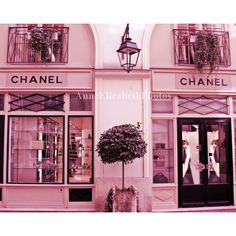 Paris Photograph- Pink France -Coco Chanel Boutique- Fashion... ❤ liked on Polyvore