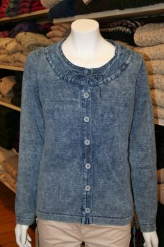 cotton cardigan from KeyWest. Machine washable, like all the collection of Danish design knitwear in our Dress Shop. Check out the Blue Willi's/Piece of Blue/KeyWest section in our online store. Denim Button Up, Button Up Shirts, Limerick Ireland, Cotton Cardigan, Key West, Knitwear, Irish, Danish Design, 100 Pure
