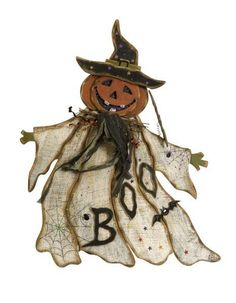 "The Pumpkin Ghost has a warm smile and bright, festive LED lights. Made of wood, this Halloween character is sure to add a welcoming touch to your porch for all the trick or tweeters! Material: 90% Plywood, 10% Fir wood. 24.25""h x 20.25""."