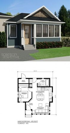 plan is designed to evoke the sunny ver. The small home plan is designed to evoke the sunny ver. small home plan is designed to evoke the sunny ver. The small home plan is designed to evoke the sunny ver. Loft Floor Plans, Living Room Floor Plans, House Floor Plans, House Plan With Loft, Small House Plans, Concept Ouvert, Open Concept Home, Small Space Kitchen, Small Spaces