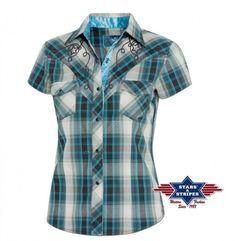 Compra esta camisa para mujer estilo vaquero de manga corta a cuadros c8e13fc45bf