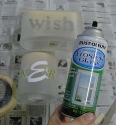 "frosted glass spray paint - use as a primer before spraying a color on glass. When color paint is still wet, sprinkle diamond dust to create ""iced"" effect"