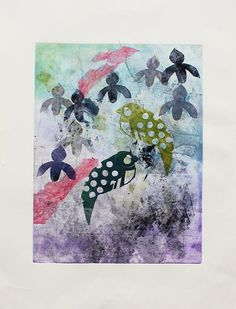 Abstract Stencil Birds and Orchids Monotype by CaritoArt on Etsy, $245.00