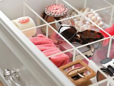 clear drawer dividers from Bed, Bath & Beyond help keep closets and drawers organized.