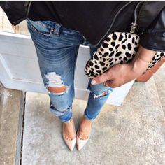 Classic combo. Leather. Denim. Cheetah