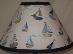 Boy's Nursery Lampshade M2M Pottery Barn Kids Row Your Boat Sailboat Bedding. $25.00, via Etsy.