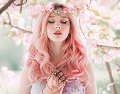 Spring Nymph by Jovana Rikalo / Fantasy Photography, Portrait Photography, Dream Photography, Aesthetic Girl, Pink Hair, Character Inspiration, Flower Girl Dresses, Pretty, Beauty