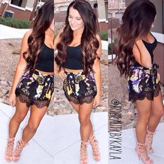 Lace shorts outfit