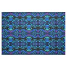 Elegant Blue Flame Abstract Fabric