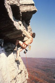 Dick Williams climbing Shockley's Ceiling (5.6)  in nothing but a swami belt and shoes in 1984 for the 20th anniversary of the first nude ascent that took place 1964. From the Rock and Snow BLOG