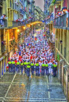 Clearing the streets to get ready for the Running of the Bulls in Pamplona, Spain.  We didn't do the run....wanted to get home in one piece.