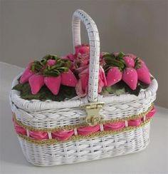 Vintage Wicker Basket Velvet Pink Strawberries Fruit Roses Flowers Handbag Purse Handmade Handcrafted