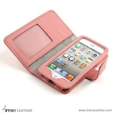 Custom Napa Pink Cartera Wallet Phone case with ID window for iPhone 5s