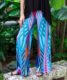 Look at this Blue & Fuchsia Geo Wide-Leg Pants on #zulily today!
