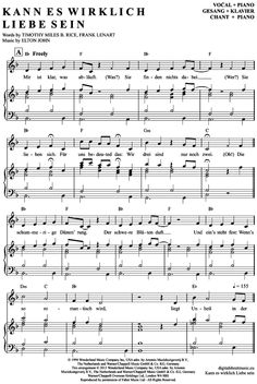 Kann es wirklich Liebe sein (Klavier + Gesang) aus: Der König der Löwen (Musical) [PDF Noten] >>> KLICK auf die Noten um Reinzuhören <<< Noten und Playback zum Download für verschiedene Instrumente bei notendownload Blockflöte, Querflöte, Gesang, Keyboard, Klavier, Klarinette, Saxophon, Trompete, Posaune, Violine, Violoncello, E-Bass, und andere ...