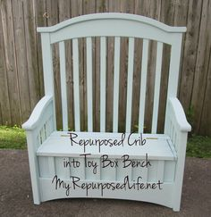 Repurposed Crib into Toy Box Bench          I'm so excited to show you my latest creation! I repurposed an old crib into a unique toy box bench.  The crib was not the most sturdy piece, and I had wondered what I was going to do with it.  I've made benches from cribs before, but they were sturdier.  I am so loving the way this turned out.  Get ready, this is going to be a picture heavy long post.