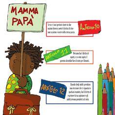 Comunicare anche ai più piccoli i principi sanciti dalla Convenzione sui diritti dell'infanzia e dell'adolescenza, attraverso parole semplici e disegni divertenti. Le parole, i disegni, i colori, la carta di questa pubblicazione sono pensati per parlare ai bambini.