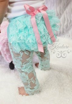 Baby/Toddlers Aqua Sweet Lace Ruffle/Cinched Footless Tights/Leggings