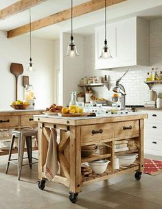 Check Out 33 Beautiful Barn Kitchen Design Ideas. The main decor piece in a barn kitchen is wooden beams which make the space cozy, rustic and sweet. Marble Top Kitchen Island, Kitchen Island Cart, Farmhouse Kitchen Island, Kitchen Tops, New Kitchen, Kitchen Islands, Kitchen Small, Kitchen Rustic, Movable Island Kitchen