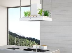Breath cooker hood brings a small roof garden to your kitchen