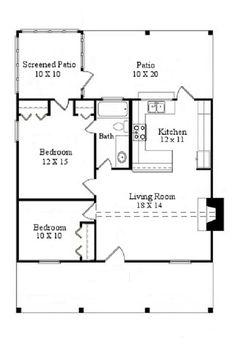 Plano de pequeña casa de campo de 70 m2 y 2 dormitorios