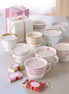 Homemade candles in teacups