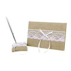 White Embellished Burlap Wedding Guest Book Pen and Stand Set ** See this great product.-It is an affiliate link to Amazon. #WeddingGuestBook