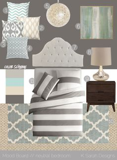 "Benjamin Moore colors:    1) light gray: BM ""Gray Mirage""  2) light aqua: BM ""At Sea""  3) light khaki: BM ""Wood Ash""  3) dark gray: BM ""Rocky Coast"" - love these colours for the bedroom"
