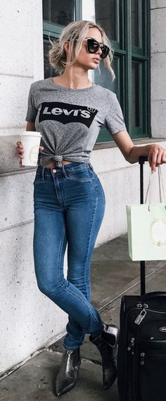#fall #outfits women's grey levis shirt and blue denim jeans
