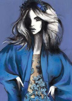 Fashion illustration - floral dress   kimono d797d0bce