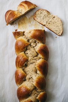 Food Photography: Rye Challah | molly yeh // Bread, Overhead Shot, Natural Lighting, Simple Styling, Colour Contrast, Baked Goods, Slices, Texture Contrast
