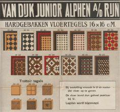 Het aanbod van hardgebakken vloertegels in de handelscatalogus van bouwmaterialenleverancier Van Dijk Junior uit Alphen aan den Rijn, circa 1914