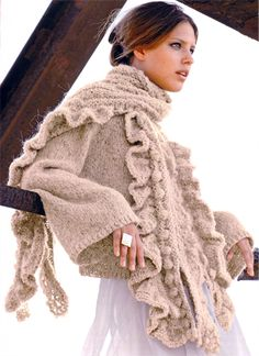 Bergere de France Flared Jacket & Stole Knitting Pattern - Made it! One of my all time favorite sweaters. Knit Fashion, Sweater Fashion, Crochet Bebe, Knit Crochet, Handgestrickte Pullover, Wool Shop, Knitting Accessories, Cozy Sweaters, Passion For Fashion