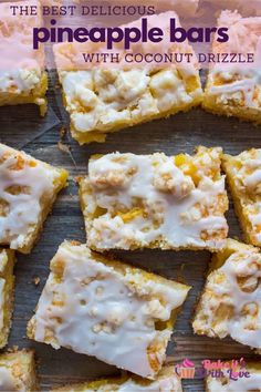 As a fan of all things tangy mixed with a pastry crust this amazing fruit dessert has earned its 'best pineapple bars recipe' title! Fun Desserts, Delicious Desserts, Yummy Food, Irish Desserts, Coconut Desserts, Coconut Bars, Unique Desserts, Pudding Desserts, Coconut Recipes