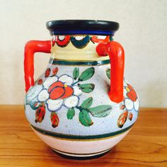 Vintage Handles Pottery Vase Colorful and Vibrant