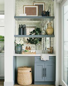 Bar Shelves Wet Bar Cabinets with Blue Floating Shelves - Transitional - Kitchen Decor, Shelves, Kitchen Bar, Home, Kitchen Remodel, Diy Home Bar, Mini Bar, Wet Bar Cabinets, Kitchen Design