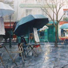 Andrei Krioutchenko Landscape Drawings, Cool Landscapes, Landscape Paintings, Watercolor Paintings, Paris, Different Art Styles, Parasols, France, Illustrations