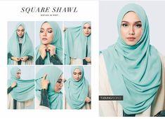 Hijab Tutorial : Square shawl hijab tutorial. #hijabfashion Square Hijab Tutorial, Simple Hijab Tutorial, Hijab Style Tutorial, Modest Wear, Modest Dresses, Modest Outfits, Muslim Fashion, Modest Fashion, Hijab Fashion