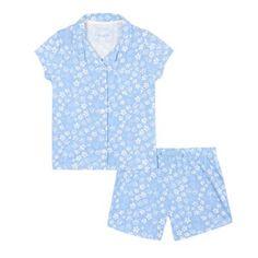 5d9dfab930b bluezoo Girls' blue daisy print pyjama shirt and shorts set