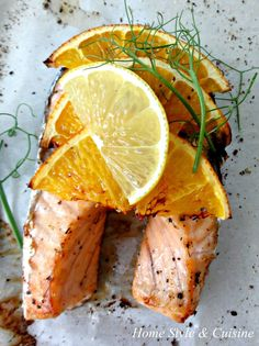 Baked salmon with orange sauce