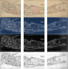 Print of Vintage Long Island Triptych Map Photo Paper by ClavinInc