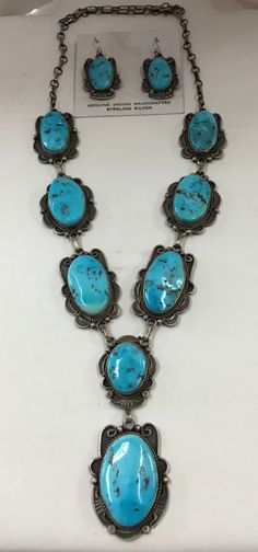 Native American Navajo Sleeping Beauty Turquoise Necklace Set