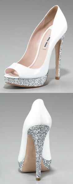miu miu glitter peep toe. Hello, beautiful shoe that would kill my feet & yet I want you, anyway.